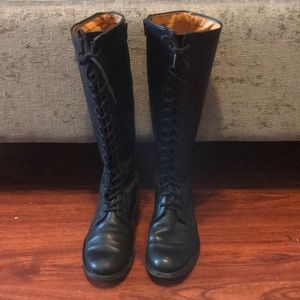 Frye Vienna Black Leather Riding Boots